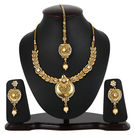 Pink Rose - Complement Collection Gold Alloy Kundan Pearl Polki Style Royal Charm Necklace Set For Women, 22, gold, alloy