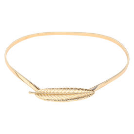 Pink Rose - Complement Collection Gold Alloy Leaf Charm Belt For Women, free, gold, alloy