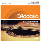 D'Addario EZ900 Acoustic Guitar Strings 85/15 Bronze. 010-. 050 Set