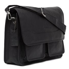 WildHorn Leather Laptop Messenger Bag, 15x4x10.5 Inches (Black, WHMB218)