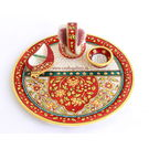Craftsgallery Marble Puja Thali With Emboss Painting 6