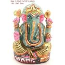 Ganesh Statue Gold Painted in Green Gemstone - 2867 gms.