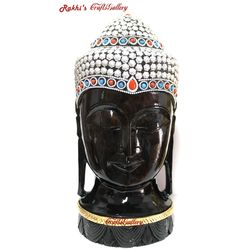 Buddha Head Statue With Metal Work - 12 Inch