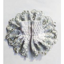 Laddu Gopal Dress Beautiful White Stone Pearl Lace Work Dress ( 2 No)