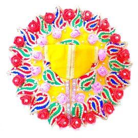 Classic Flower Poshak For Laddu Gopal / Heavy Designer Moti Work Poshak For Bal Gopal ( 5 No. )