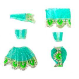Attractive Sitara Work Poshak For Goddess / Beautiful Radha Krishna Poshak With Lace Work