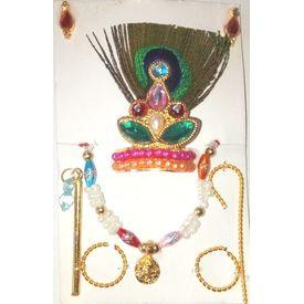 Laddu Gopal Shringar Set / Morpankh Mukut Jewellery Set - 2 Pcs