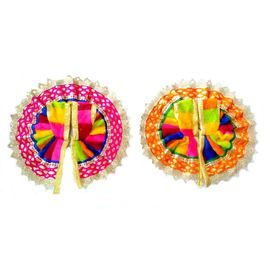 Multicolour Poshak With Beautiful Lace Border / Valvet Poshak For Laddu Gopal / Winter Dress (2No) -2 Pcs
