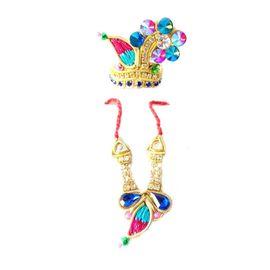 Multicolour Diamond Mukut Mala Set / Shringar Set For Laddu Gopal
