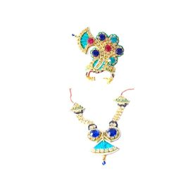 Elegent Heavy Daimond Set / Blue Daimond Set For Laddu Gopal / Nacklace & Mukut Set