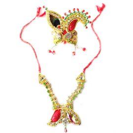 Beautiful Daimond Mala Mukut Set / Laddu Gopal Shringar Set