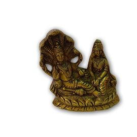 Brass Vishnu Lakshmi Statue with Sheshnag / Beautiful Vishnu Laxmi Murti / Decorative Brass Statue