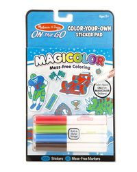 Melissa & Doug On The Go Magicolor Color-Your-Own Sticker Book - Blue