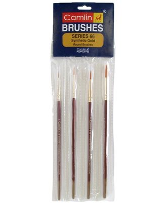 Camel Paint Brush Series 66 - Round Synthetic Gold, Set of 4
