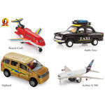 Shinsei Pull Back Combo Offer Pack Of 4 - 1 Beach Craft, Ambi Taxi, Alphard & Airbus A 380 (Color May Varry)