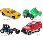 Shinsei Toys Pull Back Combo Offer Pack Of 4 Each 1 Pices Merc Benz, Clean Up City, Farm Tractor & Prado