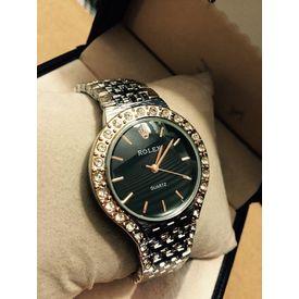 Imported Bridal wear Designer Golden belt Gift watch Women Lady ladies ROLEX BLACK DIALLER