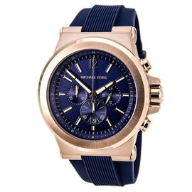 Michael Kors Dylan Navy Blue Rose Gold Silicone Strap Mens Watch MK8295 Gift