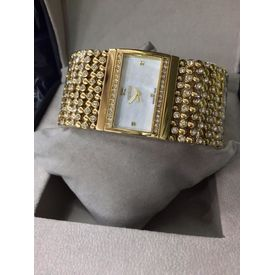 Imported Bridal Wear Designer Guess Diamonds Golden Belt Gift Watch Women Lady Ladies White Dial
