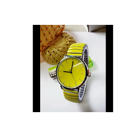 Spring strap Yellow Color women Watch