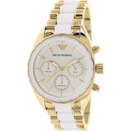 Emporio Armani AR5944 Ladies White Steel Gold Watch
