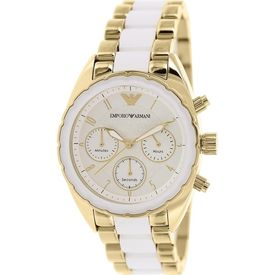 Emporio Armani AR5944 Ladies White Steel Gold Watch